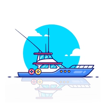 クルーズ船のアイコンイラスト。水輸送アイコンコンセプト。