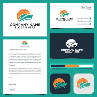 Cruise ship logo template and business card
