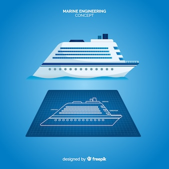 Cruise ship marine engineering plans concept