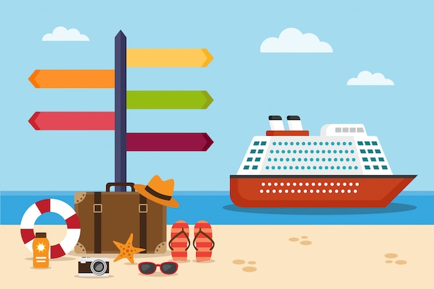 Cruise ship on the sea and suitcase on the beach and signpost