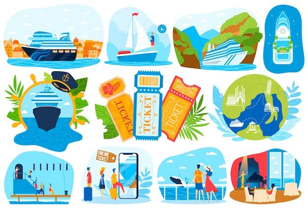Круизный корабль море отпуск набор иллюстраций.