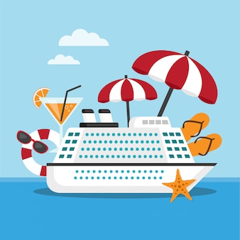Cruise ship on the sea with travel accessories