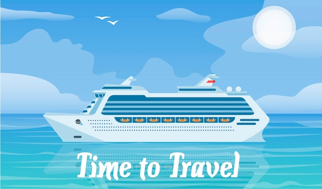 Cruise ship and traveling vector illustration