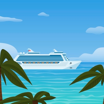 Cruise ship vacation, sea travel. water transport in tropics