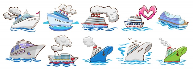 Cruise ship vector set clipart