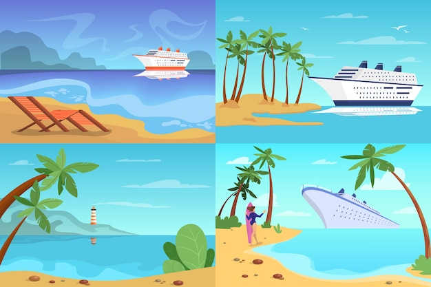 Cruise ship web banner concept set. travel on the sea