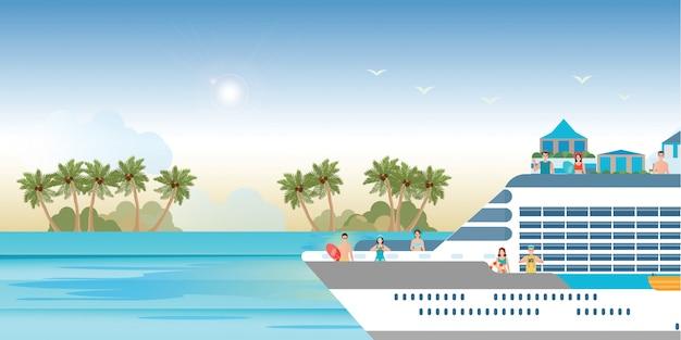 Круизный лайнер с туристами, путешествующими на круизном катере.