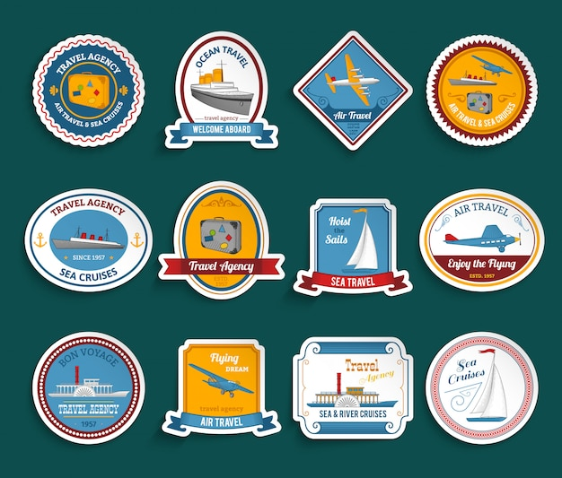 Cruise travel agency stickers set