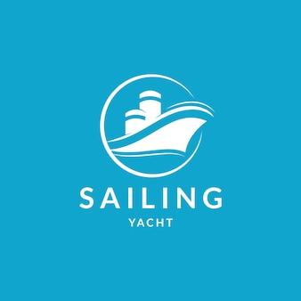 クルーズヨットクラブのロゴのエンブレムまたはラベル航海の概念
