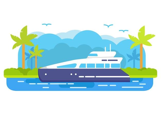 Круизная яхта. летнее морское путешествие. тропический остров пальмы. морское путешествие.