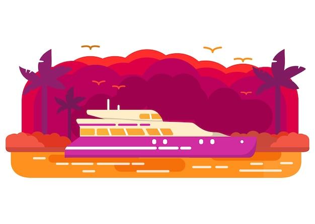 クルーズヨット船。ヤシの木の熱帯の島。日没の風景。