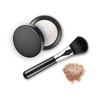 Crumbled face cosmetic make up powder blusher