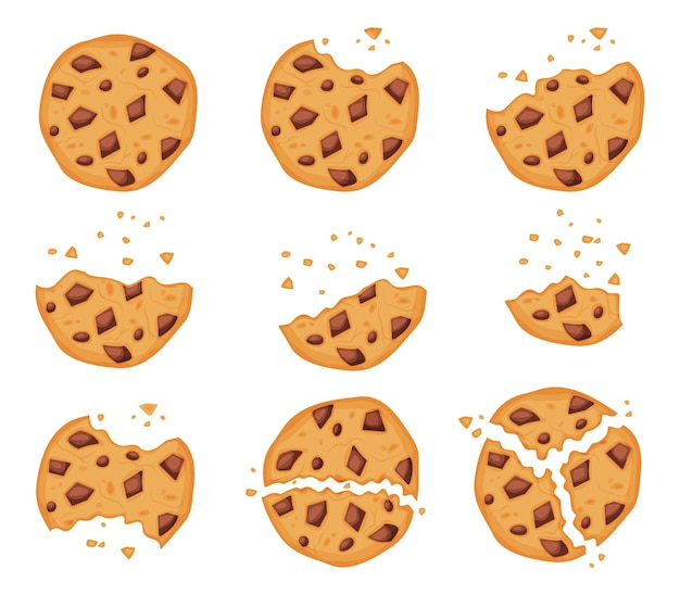 초콜릿 칩에 물린 비스킷 artoon 깨진 쿠키 조각 벡터 세트와 함께 부서진 오트밀 쿠키