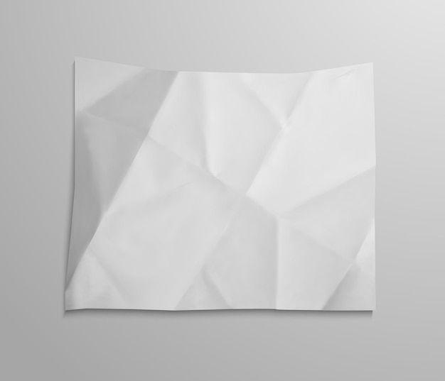 Crumpled blank empty paper sheet object. realistic textured element for your design.