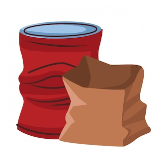 Crumpled can and paper icon cartoon