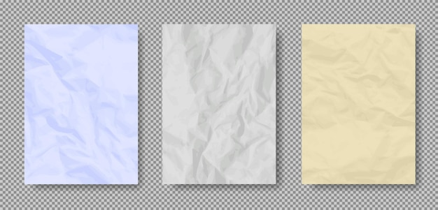 Crumpled grunge realistic old paper textures