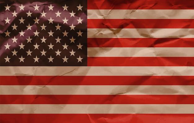しわくちゃの紙のアメリカの国旗の背景