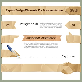 Crumpled paper design elements for documentation set