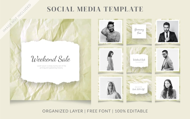 Crumpled paper fashion social media sale post template