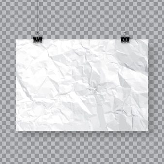 Crumpled paper poster template hanging with clips