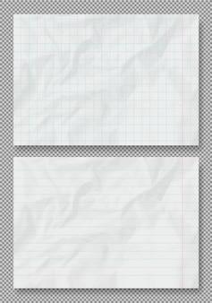 しわくちゃの紙のテクスチャ、裏地と四角