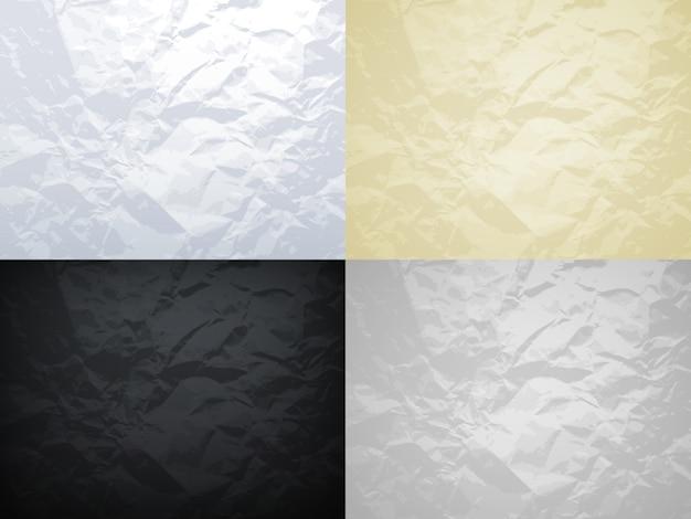 Crumpled paper textures set