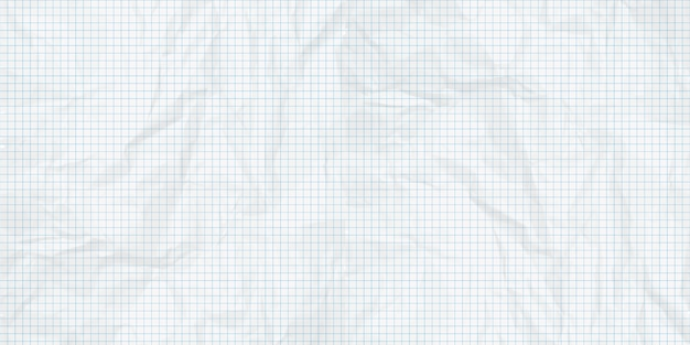 Crumpled sheet graph paper background.