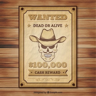 Crumpled wanted poster of skull with hat