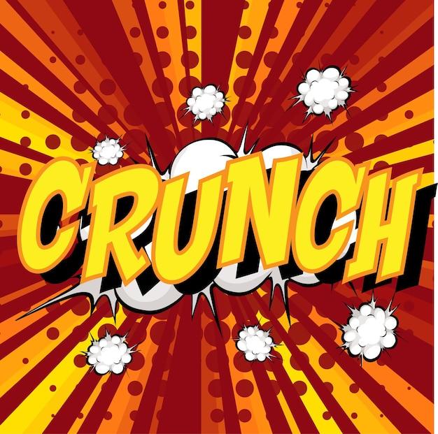 Crunch wording comic speech bubble on burst