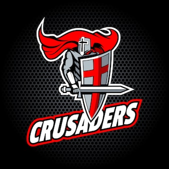 Crusaders word with proud knight, for team or t-shirt logo.