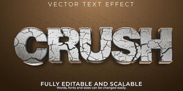 Текстовый эффект crush stone, редактируемое землетрясение и стиль разбитого текста