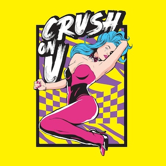 Crush on you poster with crying girl design