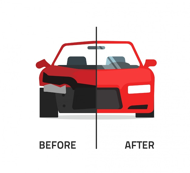 Crushed and repaired car or auto vector illustration