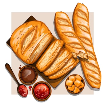 Crusty french baguette with jam