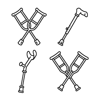 Crutches icon set, outline style