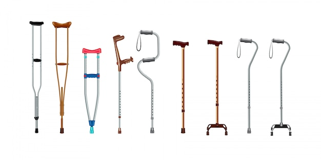 Crutches icon set