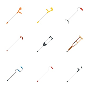 Crutches injury support care icons set