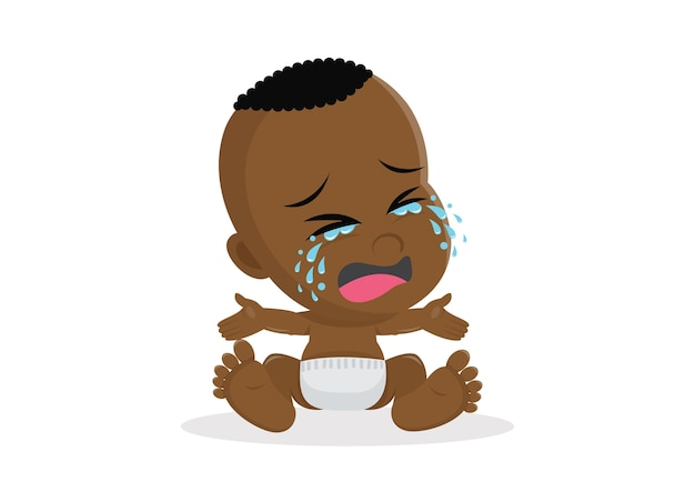 Crying african baby boy.