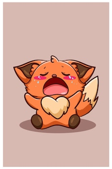 Crying baby fox cute cartoon