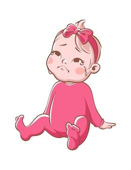 우는 아기 소녀. 만화 유아 캐릭터입니다. 앉아 있는 작은 슬픈 소녀. 흰색 배경에 고립 된 핑크 벡터 일러스트 레이 션에 아이