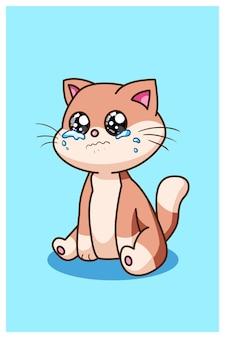 Плачущий мальчик кошка животное векторные иллюстрации