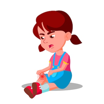Crying character little girl bump knee