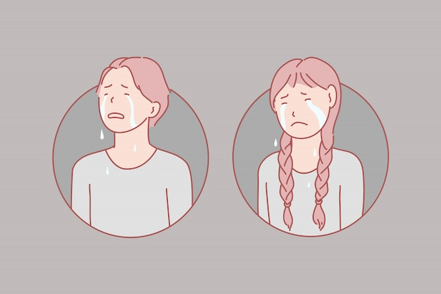 Crying, children, stress, tears illustration