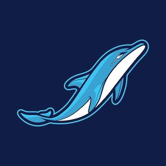 泣いているイルカのマスコットのロゴのデザイン