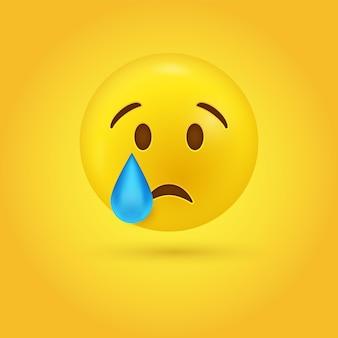 Плачущее лицо смайлика со слезой из одного глаза иллюстрации