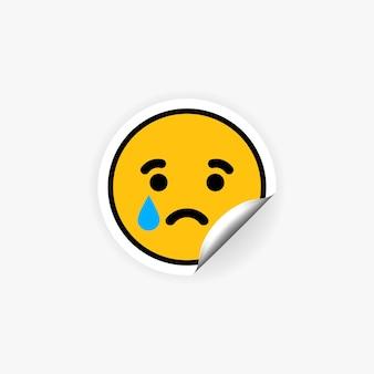 우는 이모티콘 스티커. 울음 소리. 슬퍼. 당황. 눈물.