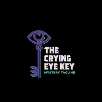 The crying eye key. abstract vector sign, symbol or logo template.