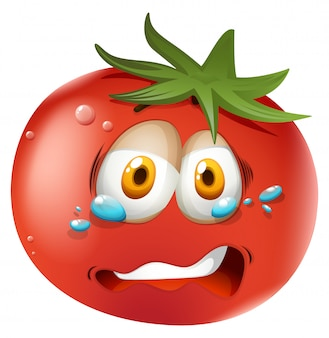 Crying face on tomato Free Vector
