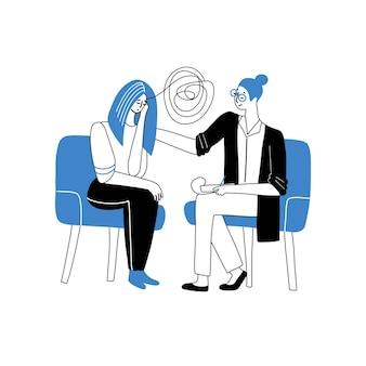심리학자의 약속에서 우는 소녀 정신 문제 또는 우울증 치료의 심리 치료 개념 ...
