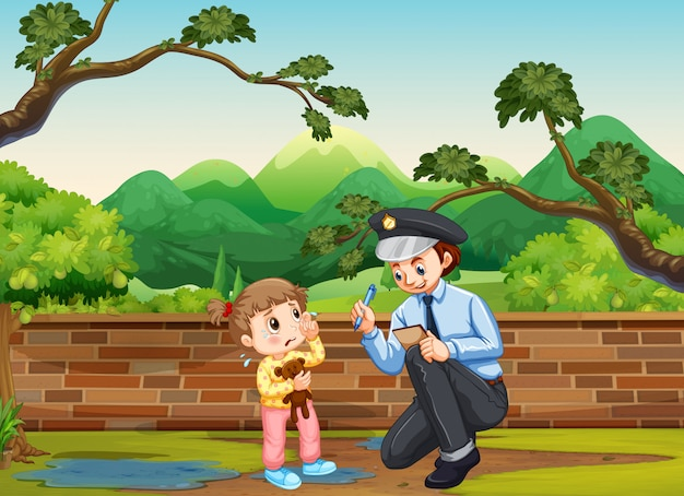 Crying girl and policeman in the park